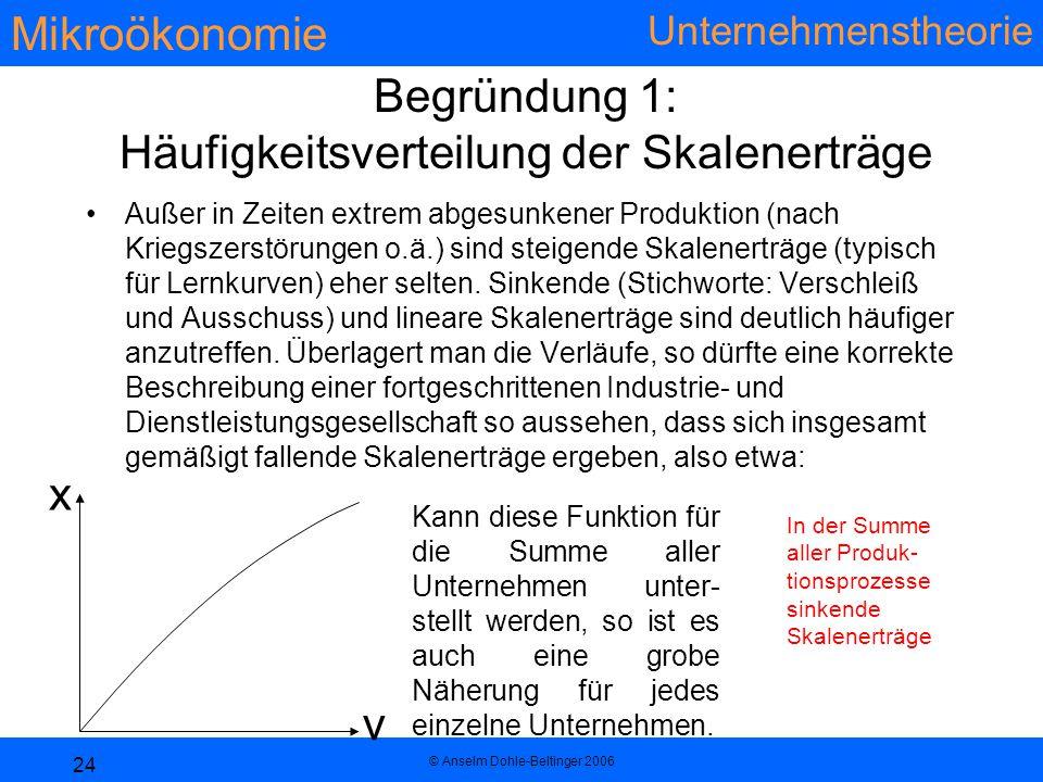 Mikroökonomie Unternehmenstheorie © Anselm Dohle-Beltinger 2006 24 Begründung 1: Häufigkeitsverteilung der Skalenerträge Außer in Zeiten extrem abgesunkener Produktion (nach Kriegszerstörungen o.ä.) sind steigende Skalenerträge (typisch für Lernkurven) eher selten.