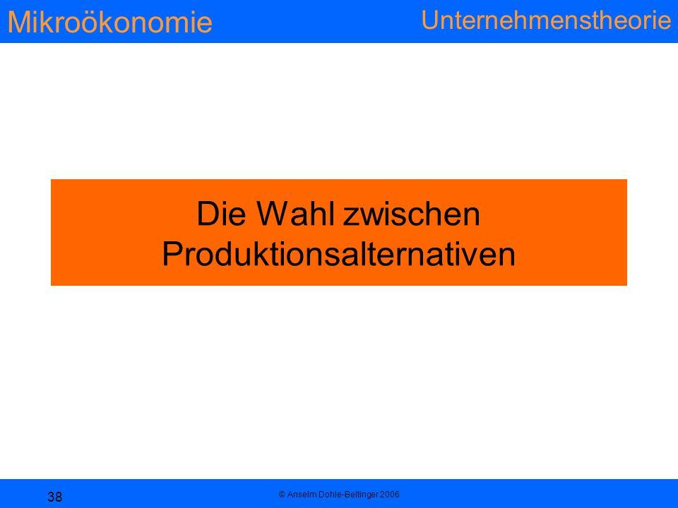 Mikroökonomie Unternehmenstheorie © Anselm Dohle-Beltinger 2006 38 Die Wahl zwischen Produktionsalternativen