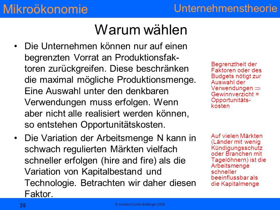 Mikroökonomie Unternehmenstheorie © Anselm Dohle-Beltinger 2006 39 Warum wählen Die Unternehmen können nur auf einen begrenzten Vorrat an Produktionsfak- toren zurückgreifen.