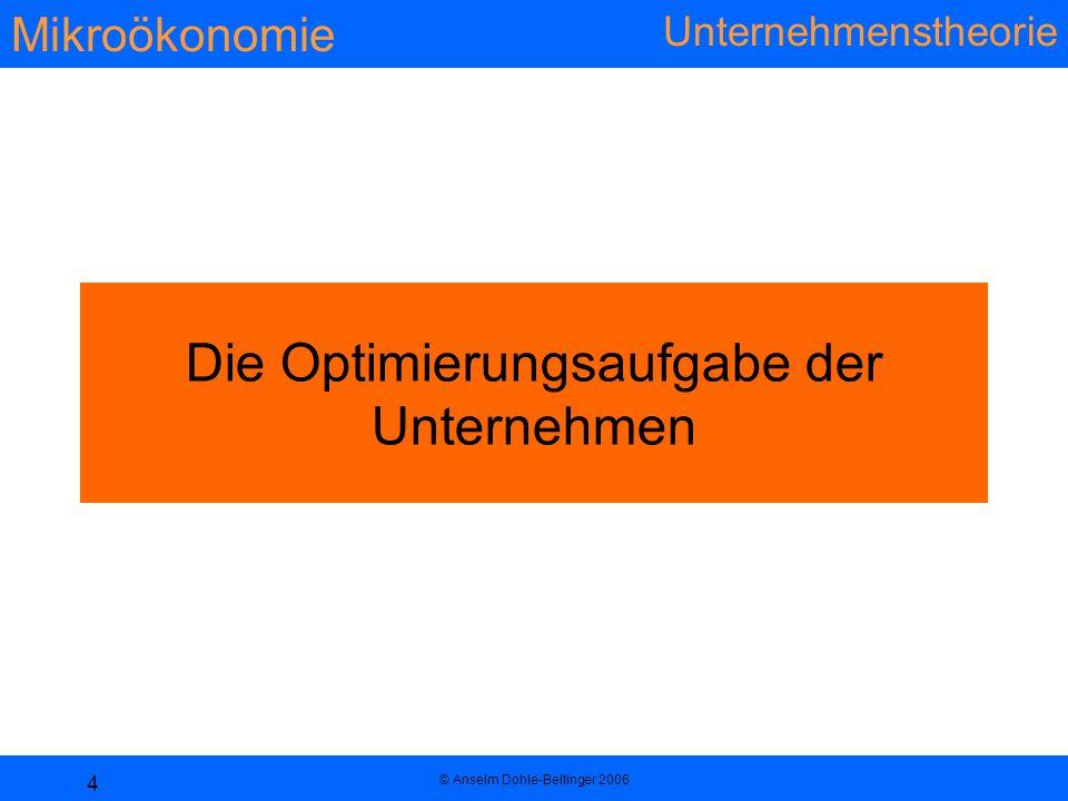 Mikroökonomie Unternehmenstheorie © Anselm Dohle-Beltinger 2006 4 Die Optimierungsaufgabe der Unternehmen
