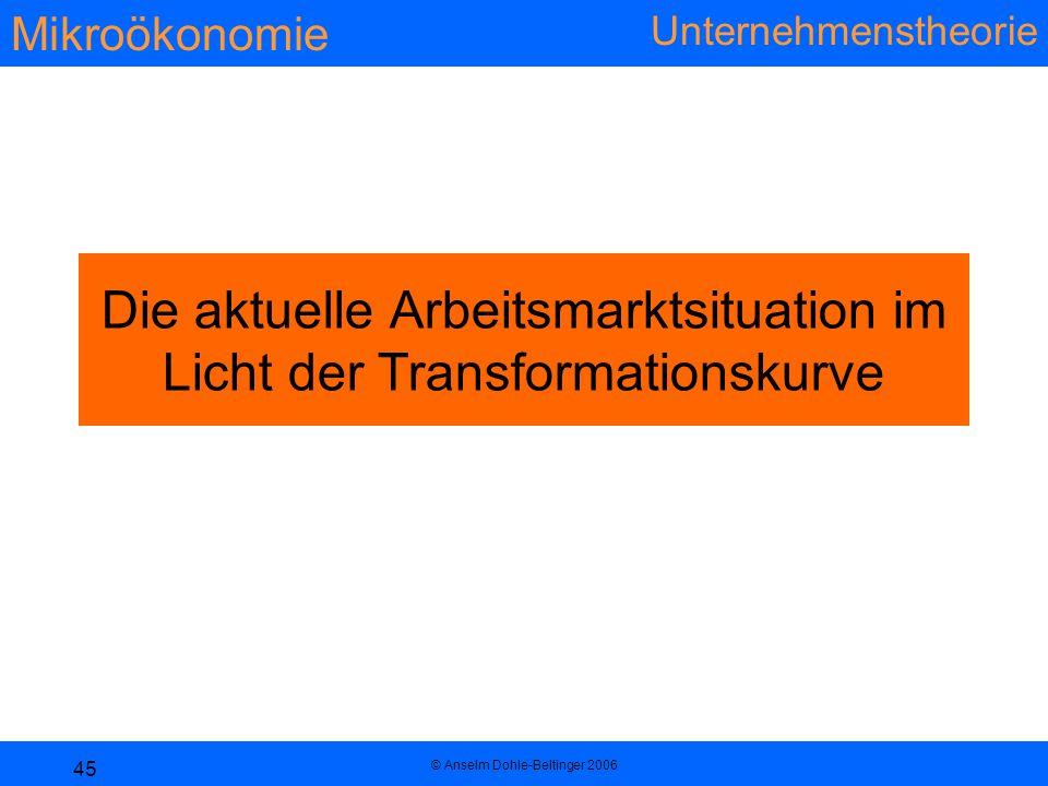 Mikroökonomie Unternehmenstheorie © Anselm Dohle-Beltinger 2006 45 Die aktuelle Arbeitsmarktsituation im Licht der Transformationskurve