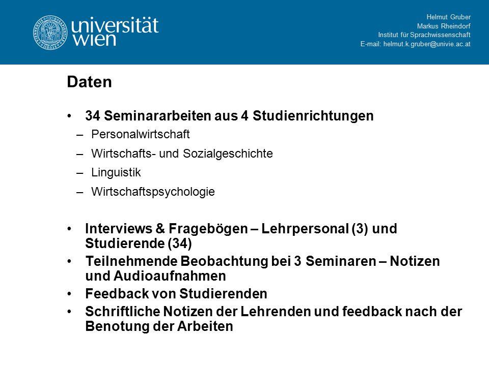 Helmut Gruber Markus Rheindorf Institut für Sprachwissenschaft E-mail: helmut.k.gruber@univie.ac.at Generelles Konzept von Modul 2 Zeitplan Einstufung(1-1 1/2 Stunden Zeitaufwand) Modul 1 (max.