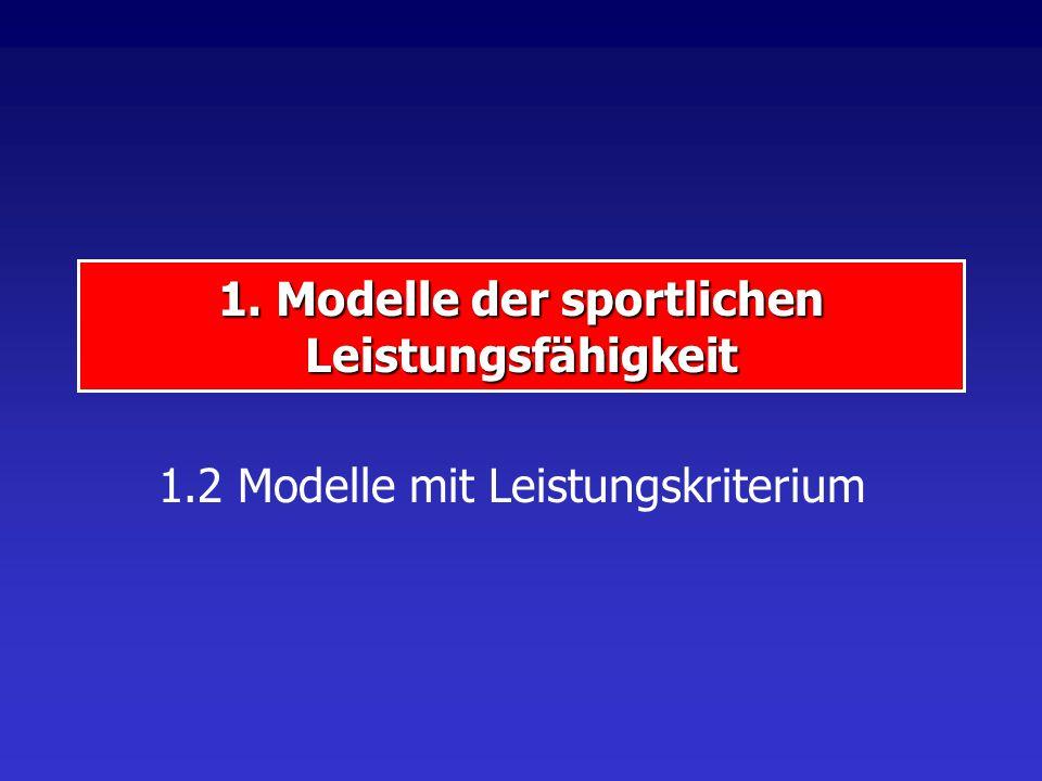1. Modelle der sportlichen Leistungsfähigkeit 1.2 Modelle mit Leistungskriterium