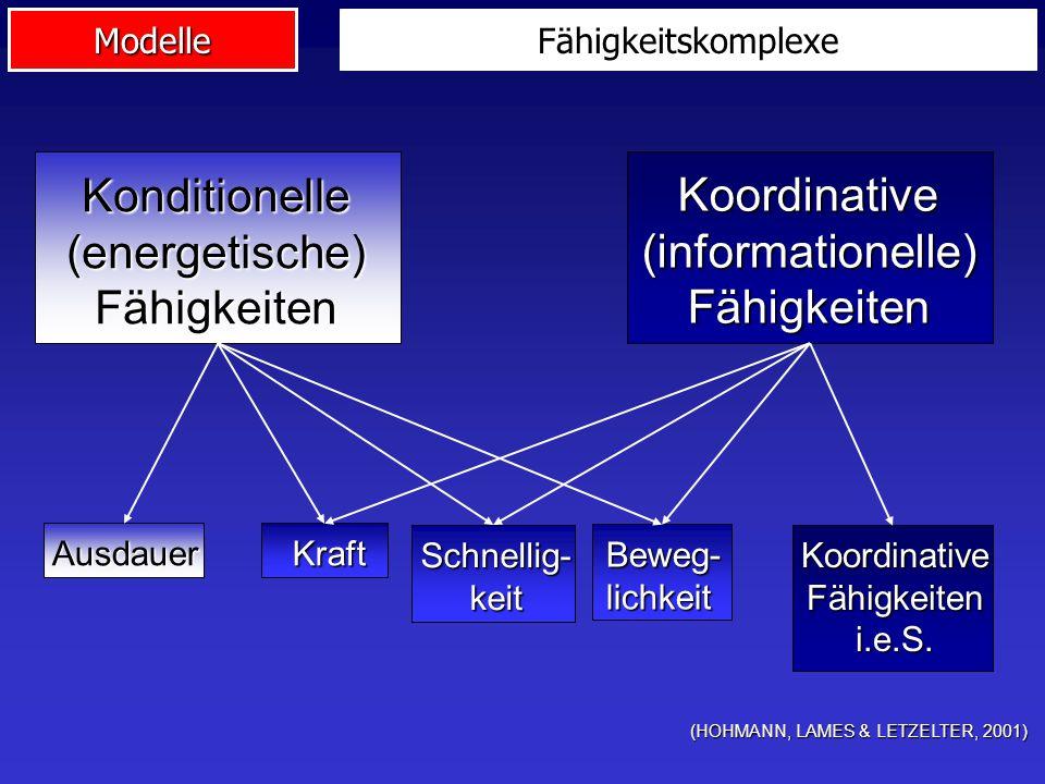 Modelle Fähigkeitskomplexe (HOHMANN, LAMES & LETZELTER, 2001) Konditionelle(energetische)Fähigkeiten Koordinative(informationelle)Fähigkeiten Ausdauer