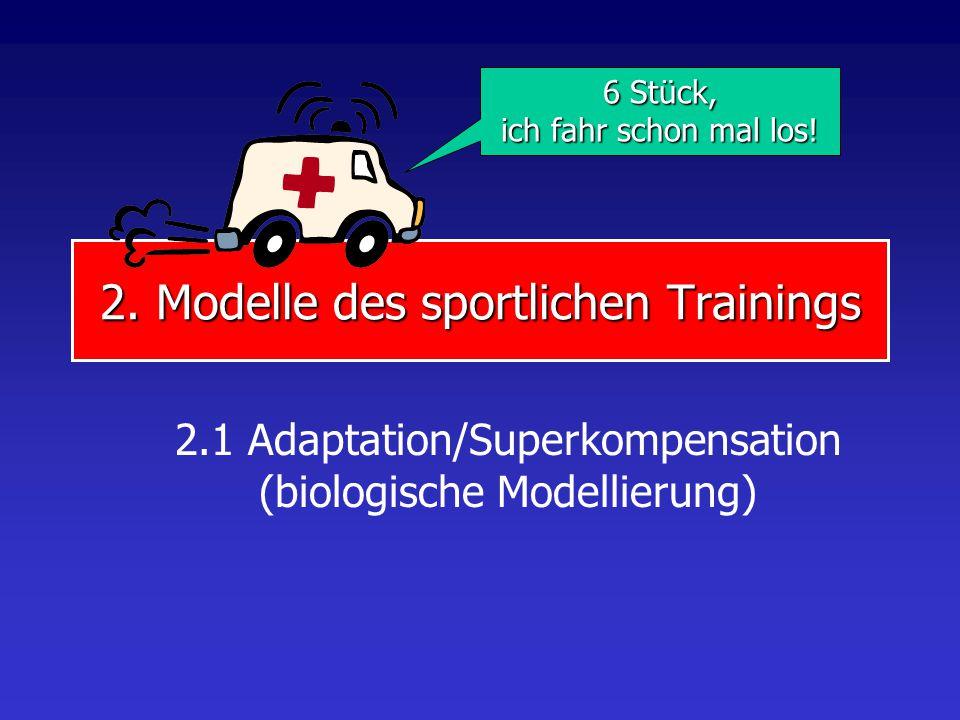 2. Modelle des sportlichen Trainings 2.1 Adaptation/Superkompensation (biologische Modellierung) 6 Stück, ich fahr schon mal los!