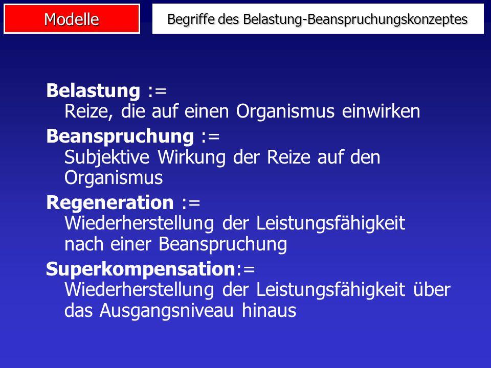 Modelle Begriffe des Belastung-Beanspruchungskonzeptes Belastung := Reize, die auf einen Organismus einwirken Beanspruchung := Subjektive Wirkung der