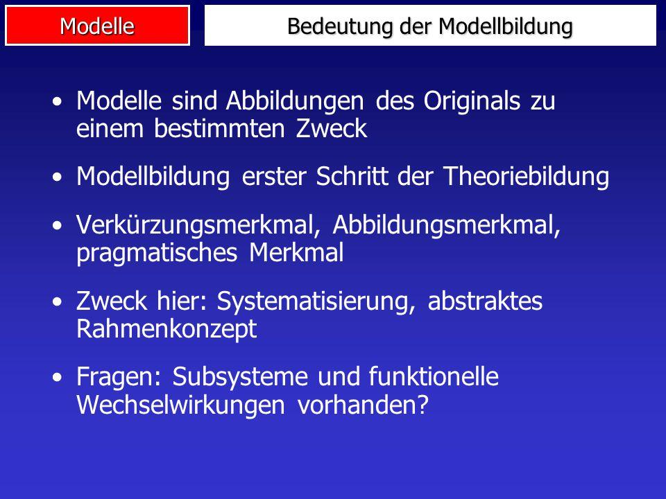 Modelle Bedeutung der Modellbildung Modelle sind Abbildungen des Originals zu einem bestimmten Zweck Modellbildung erster Schritt der Theoriebildung V