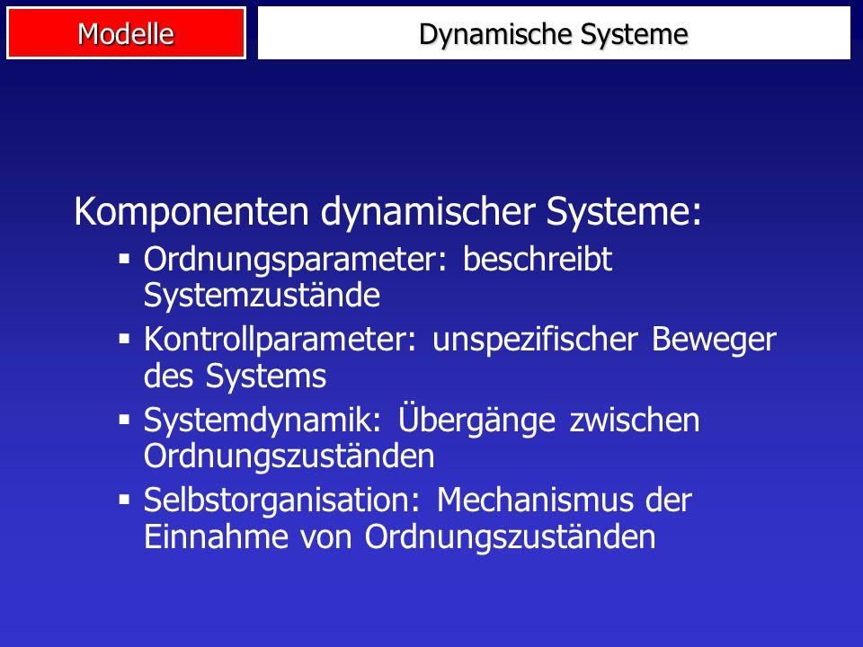 Modelle Dynamische Systeme Komponenten dynamischer Systeme:  Ordnungsparameter: beschreibt Systemzustände  Kontrollparameter: unspezifischer Beweger