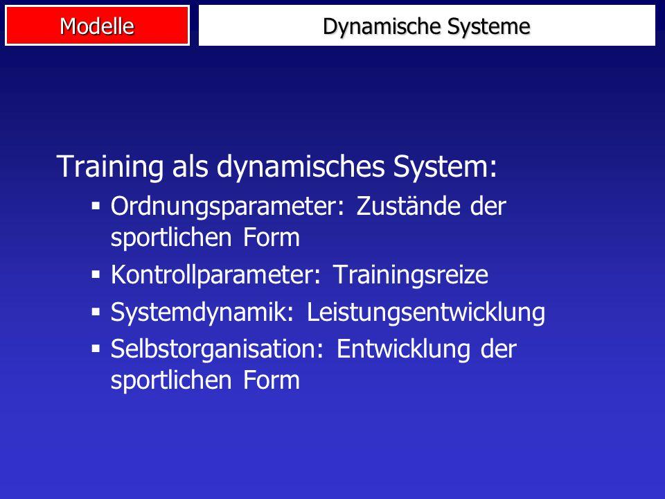 Modelle Dynamische Systeme Training als dynamisches System:  Ordnungsparameter: Zustände der sportlichen Form  Kontrollparameter: Trainingsreize  S