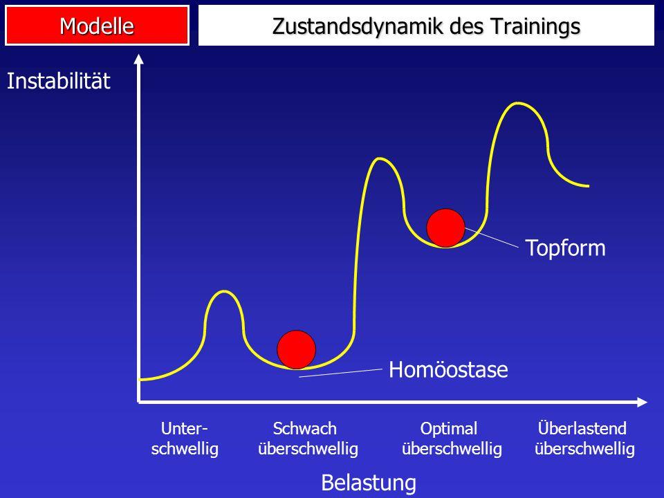Modelle Zustandsdynamik des Trainings Belastung Instabilität Unter- schwellig Schwach überschwellig Optimal überschwellig Überlastend überschwellig Ho