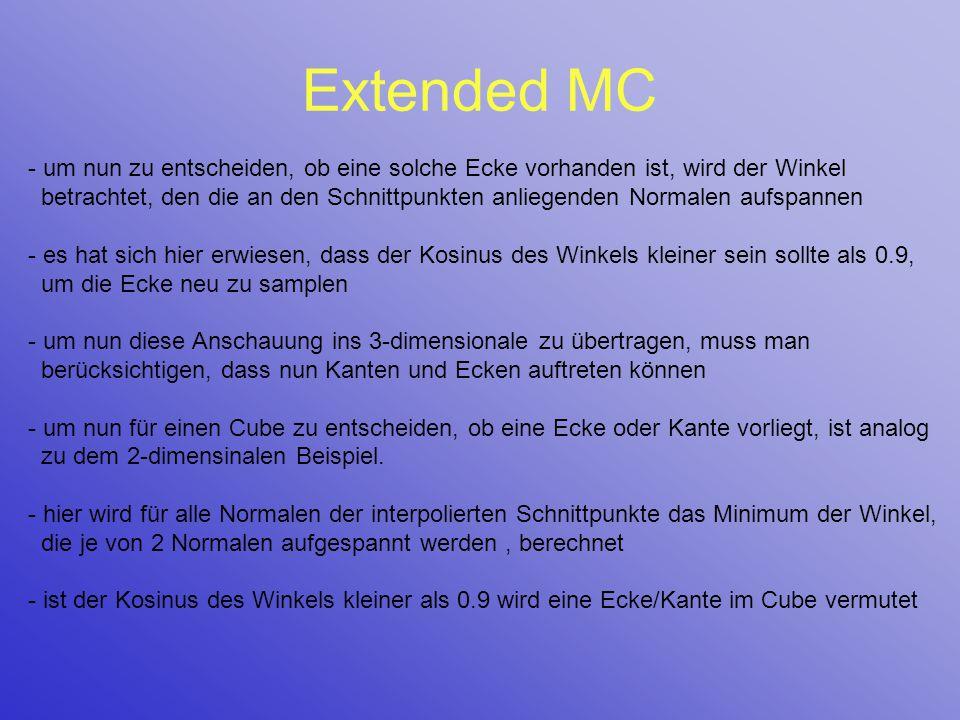 Extended MC - um nun zu entscheiden, ob eine solche Ecke vorhanden ist, wird der Winkel betrachtet, den die an den Schnittpunkten anliegenden Normalen