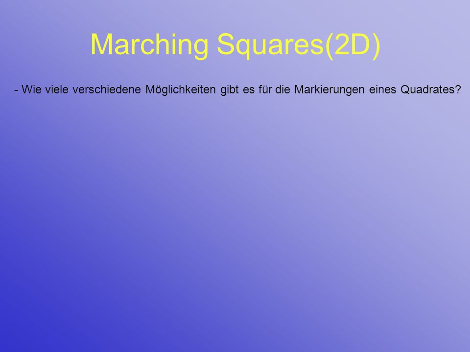 Marching Squares(2D) - Wie viele verschiedene Möglichkeiten gibt es für die Markierungen eines Quadrates?