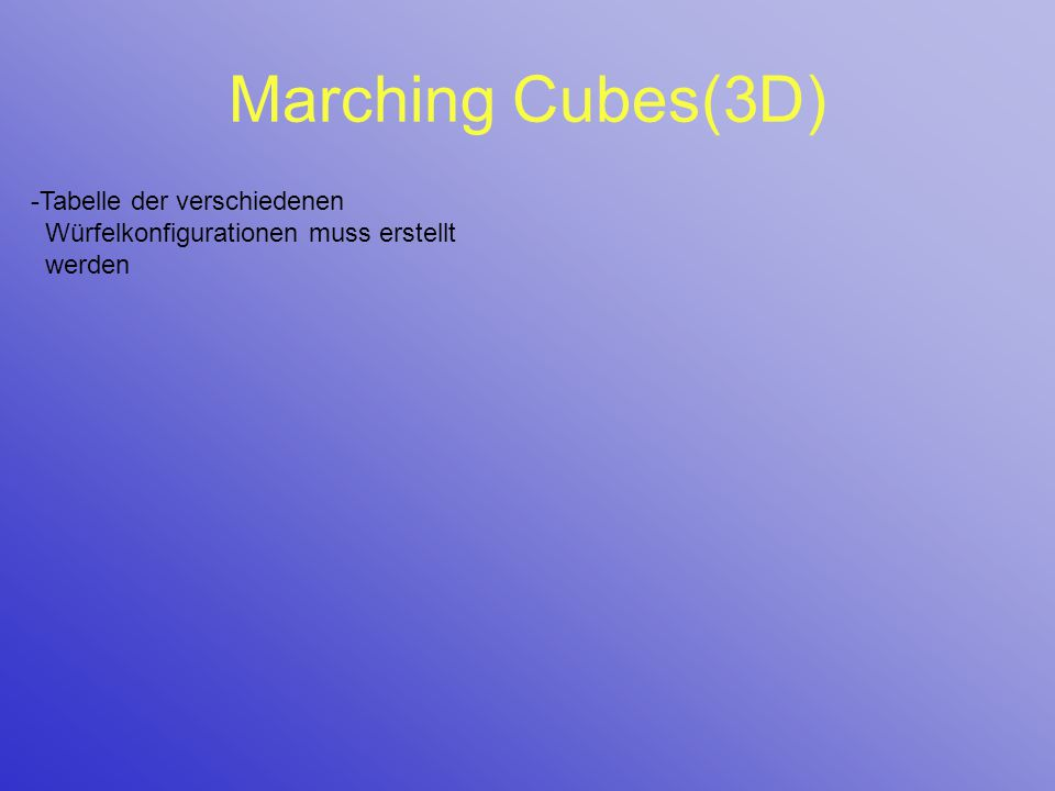 Marching Cubes(3D) -Tabelle der verschiedenen Würfelkonfigurationen muss erstellt werden