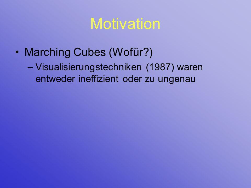 Motivation Marching Cubes (Wofür?) –Visualisierungstechniken (1987) waren entweder ineffizient oder zu ungenau