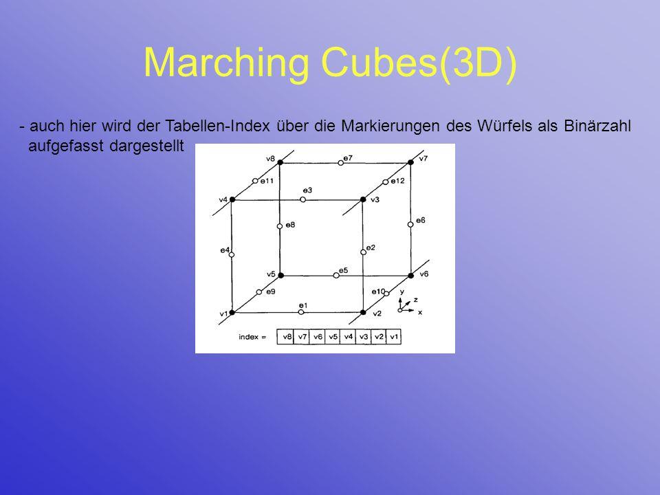 Marching Cubes(3D) - auch hier wird der Tabellen-Index über die Markierungen des Würfels als Binärzahl aufgefasst dargestellt