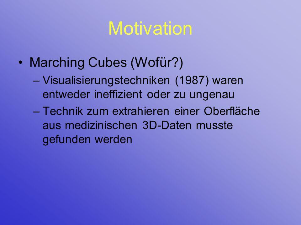 Motivation Marching Cubes (Wofür?) –Visualisierungstechniken (1987) waren entweder ineffizient oder zu ungenau –Technik zum extrahieren einer Oberfläc