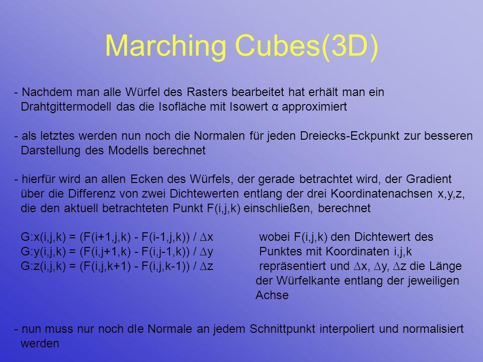 Marching Cubes(3D) - Nachdem man alle Würfel des Rasters bearbeitet hat erhält man ein Drahtgittermodell das die Isofläche mit Isowert α approximiert