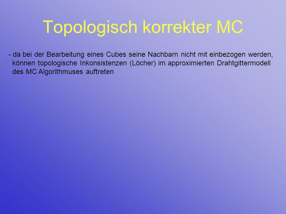 Topologisch korrekter MC - da bei der Bearbeitung eines Cubes seine Nachbarn nicht mit einbezogen werden, können topologische Inkonsistenzen (Löcher)