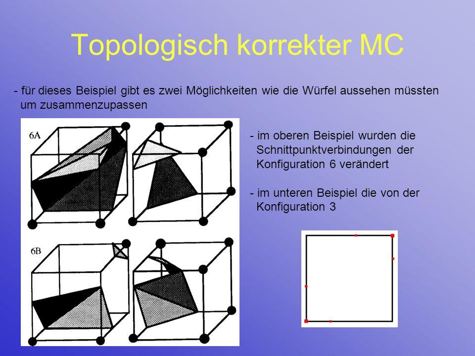 Topologisch korrekter MC - für dieses Beispiel gibt es zwei Möglichkeiten wie die Würfel aussehen müssten um zusammenzupassen - im oberen Beispiel wur