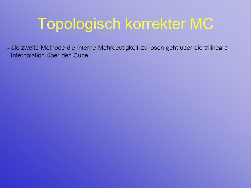 Topologisch korrekter MC - die zweite Methode die interne Mehrdeutigkeit zu lösen geht über die trilineare Interpolation über den Cube