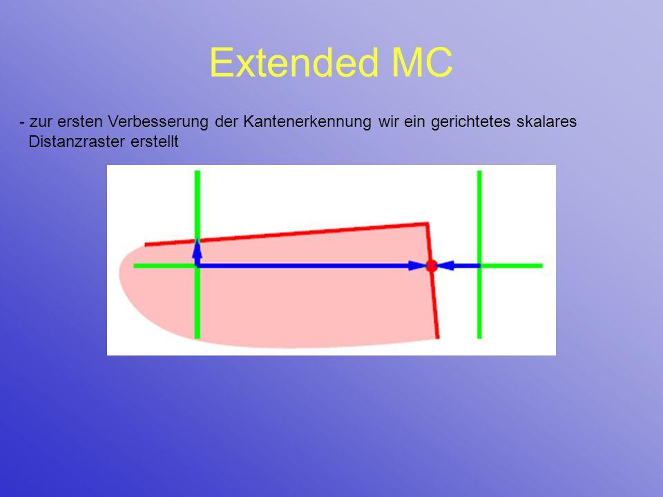 Extended MC - zur ersten Verbesserung der Kantenerkennung wir ein gerichtetes skalares Distanzraster erstellt