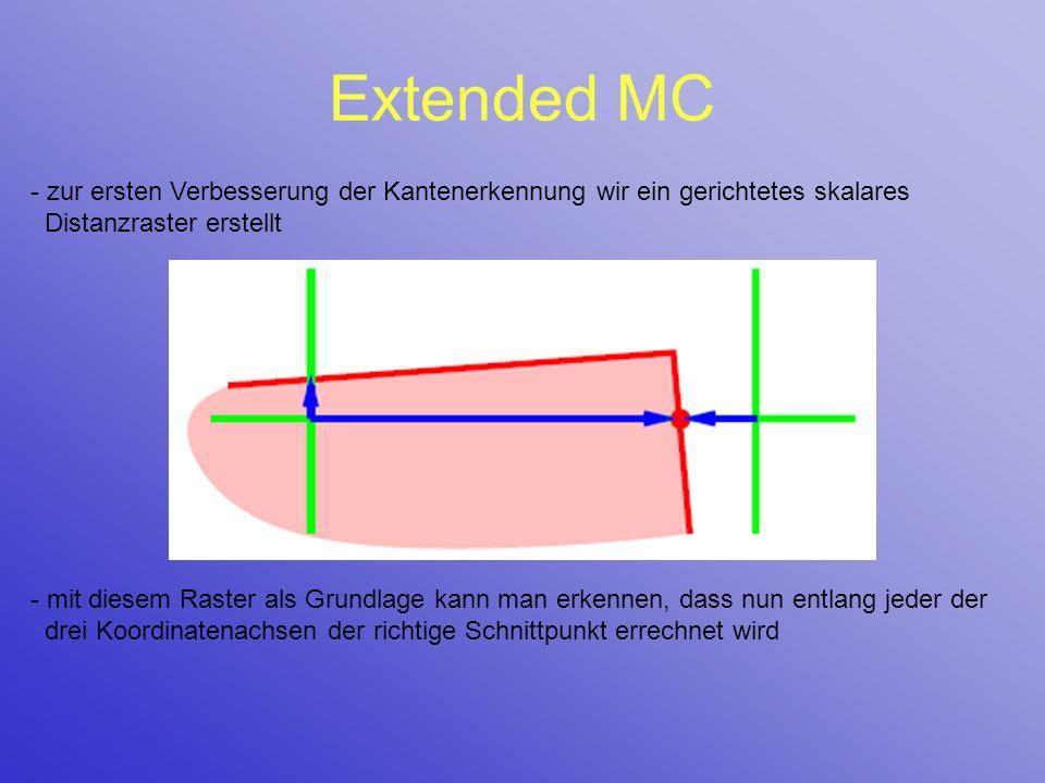 Extended MC - zur ersten Verbesserung der Kantenerkennung wir ein gerichtetes skalares Distanzraster erstellt - mit diesem Raster als Grundlage kann m