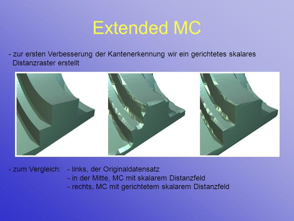 Extended MC - zur ersten Verbesserung der Kantenerkennung wir ein gerichtetes skalares Distanzraster erstellt - zum Vergleich:- links, der Originaldat