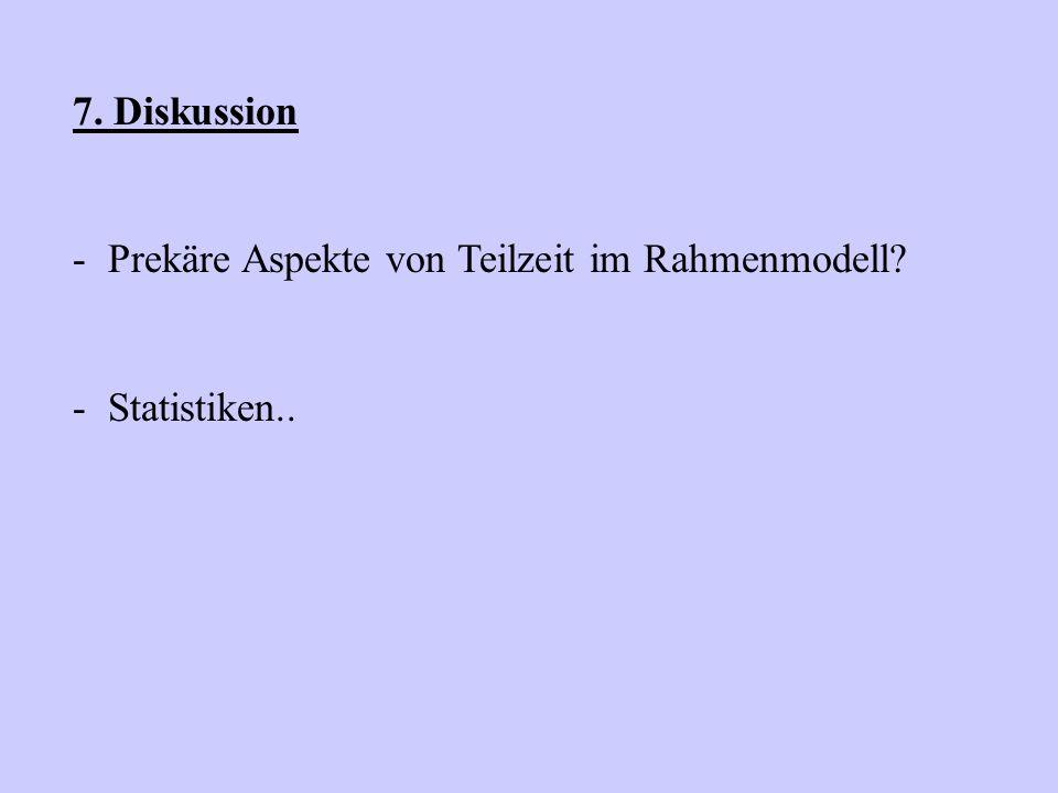 7. Diskussion - Prekäre Aspekte von Teilzeit im Rahmenmodell? - Statistiken..
