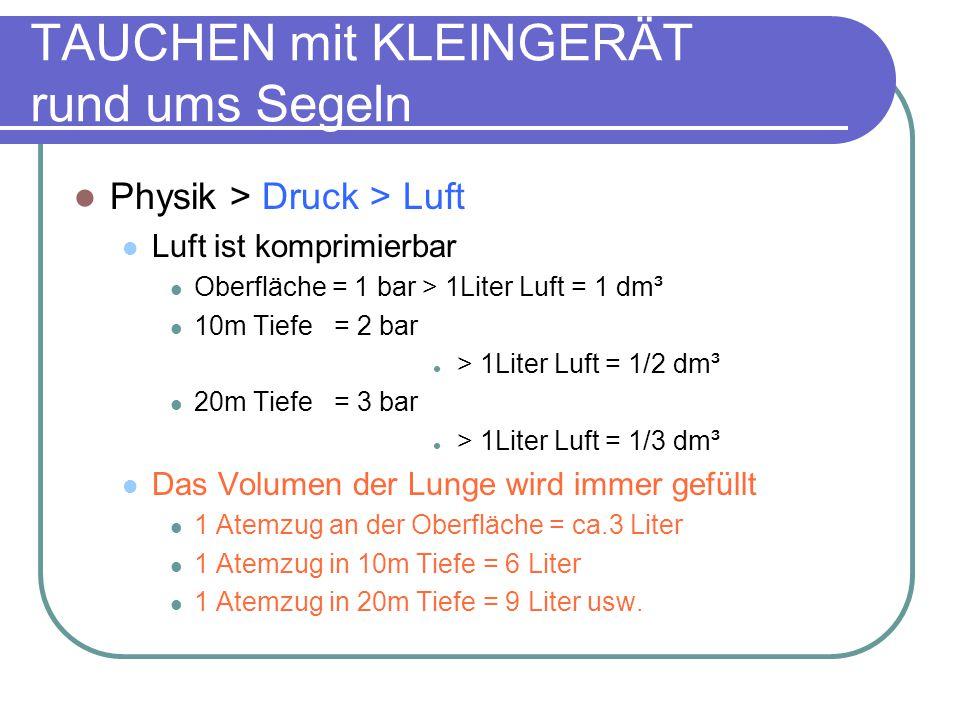 Physik > Druck > Luft Luft ist komprimierbar Oberfläche = 1 bar > 1Liter Luft = 1 dm³ 10m Tiefe = 2 bar > 1Liter Luft = 1/2 dm³ 20m Tiefe = 3 bar > 1Liter Luft = 1/3 dm³ Das Volumen der Lunge wird immer gefüllt 1 Atemzug an der Oberfläche = ca.3 Liter 1 Atemzug in 10m Tiefe = 6 Liter 1 Atemzug in 20m Tiefe = 9 Liter usw.
