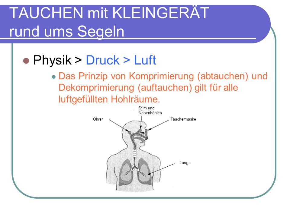Physik > Druck > Luft Das Prinzip von Komprimierung (abtauchen) und Dekomprimierung (auftauchen) gilt für alle luftgefüllten Hohlräume.