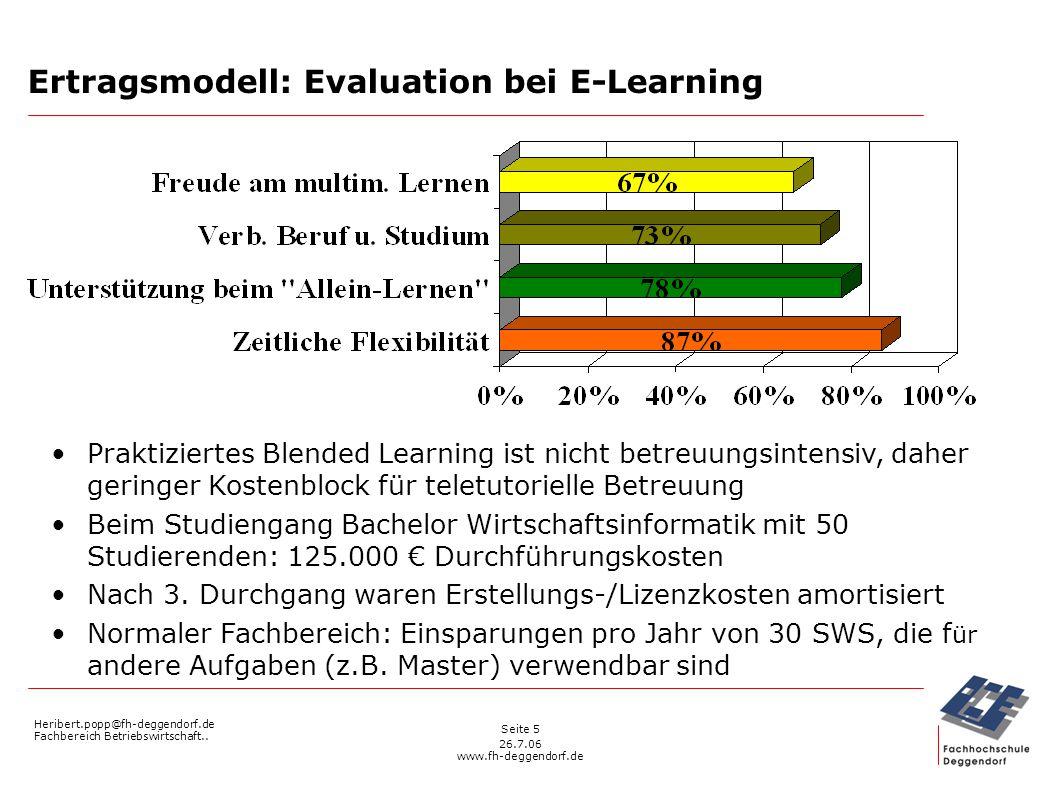 Heribert.popp@fh-deggendorf.de Fachbereich Betriebswirtschaft.. 26.7.06 www.fh-deggendorf.de Seite 5 Ertragsmodell: Evaluation bei E-Learning Praktizi
