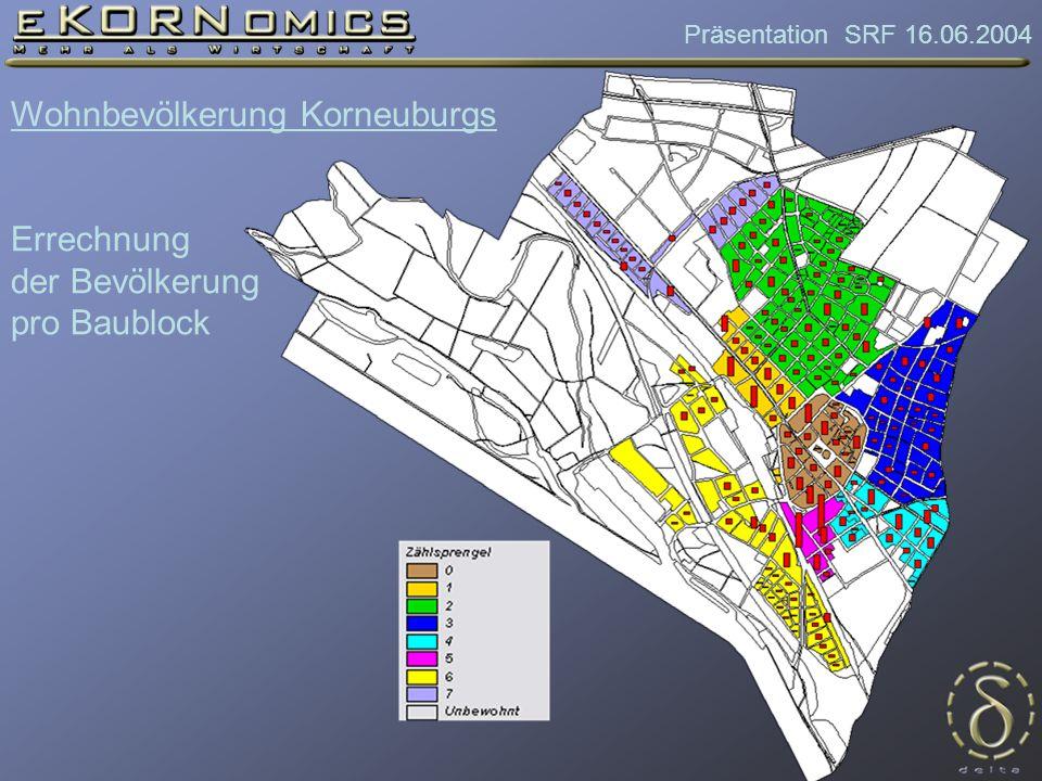 Präsentation SRF 16.06.2004 Wohnbevölkerung Korneuburgs Errechnung der Bevölkerung pro Baublock