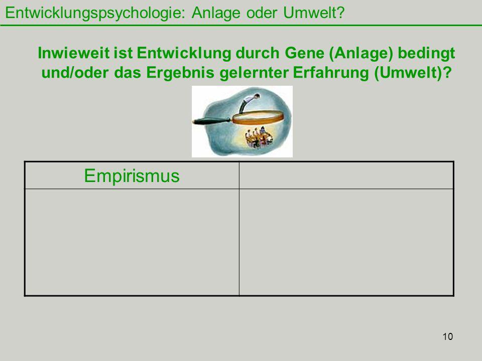 10 Entwicklungspsychologie: Anlage oder Umwelt.
