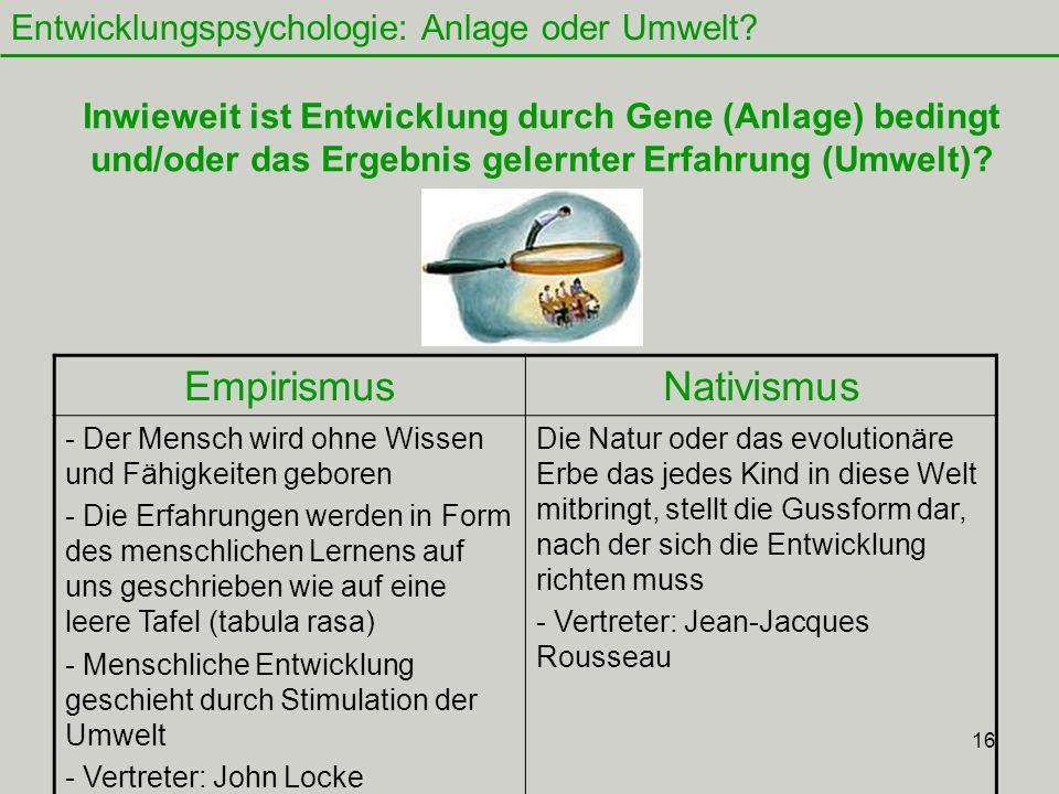 16 Entwicklungspsychologie: Anlage oder Umwelt.