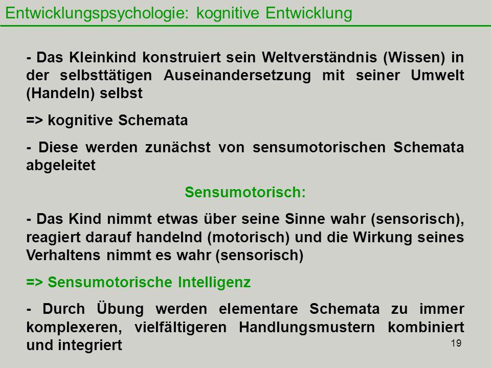 19 Entwicklungspsychologie: kognitive Entwicklung - Das Kleinkind konstruiert sein Weltverständnis (Wissen) in der selbsttätigen Auseinandersetzung mit seiner Umwelt (Handeln) selbst => kognitive Schemata - Diese werden zunächst von sensumotorischen Schemata abgeleitet Sensumotorisch: - Das Kind nimmt etwas über seine Sinne wahr (sensorisch), reagiert darauf handelnd (motorisch) und die Wirkung seines Verhaltens nimmt es wahr (sensorisch) => Sensumotorische Intelligenz - Durch Übung werden elementare Schemata zu immer komplexeren, vielfältigeren Handlungsmustern kombiniert und integriert