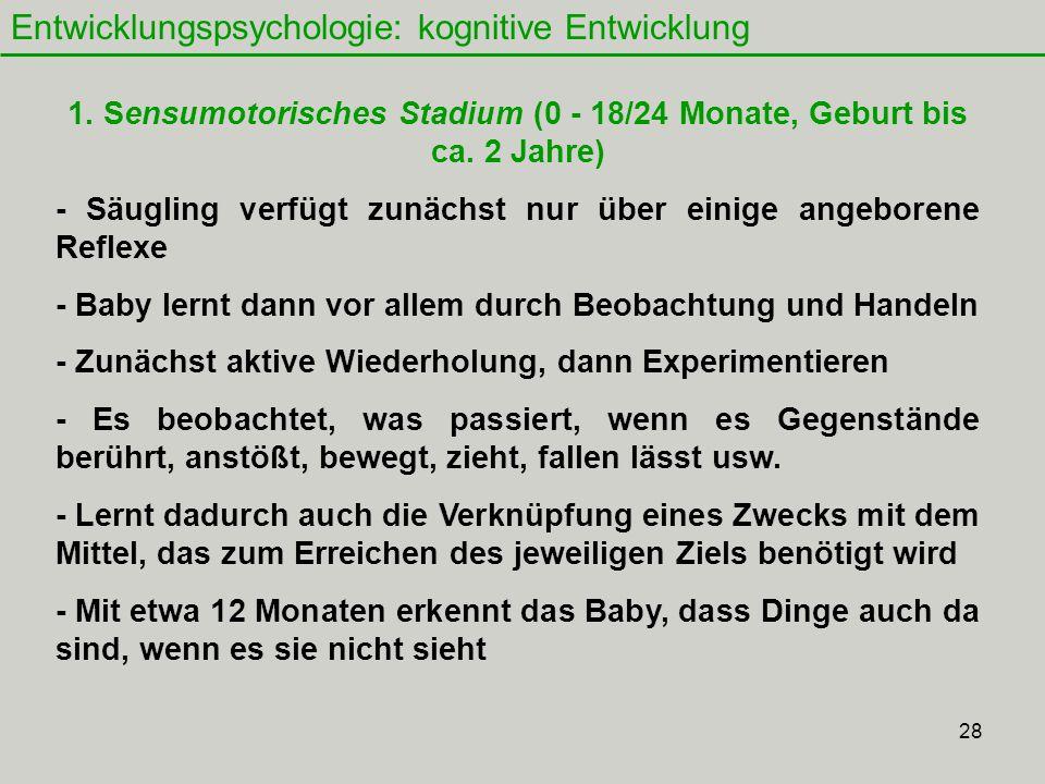 28 Entwicklungspsychologie: kognitive Entwicklung 1.