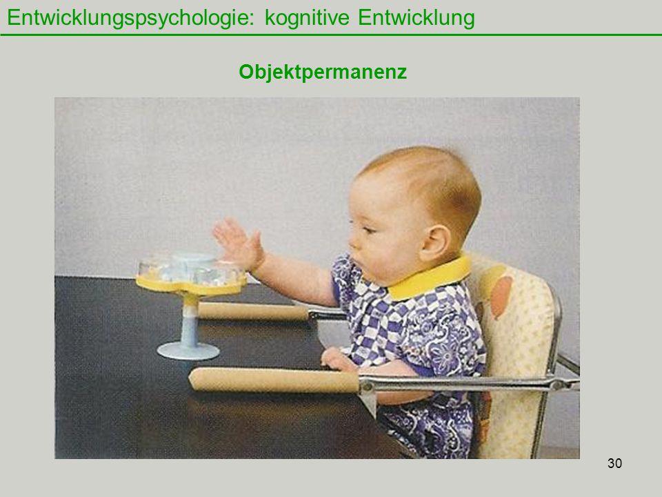 30 Entwicklungspsychologie: kognitive Entwicklung Objektpermanenz