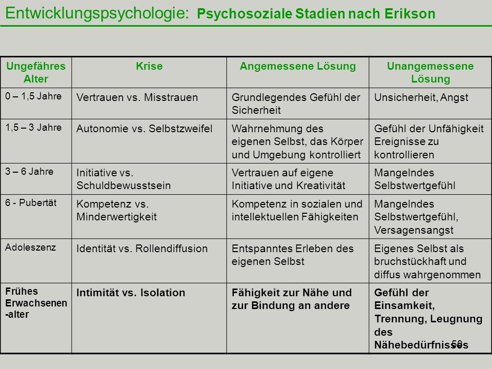 50 Entwicklungspsychologie: Psychosoziale Stadien nach Erikson Ungefähres Alter KriseAngemessene LösungUnangemessene Lösung 0 – 1,5 Jahre Vertrauen vs.