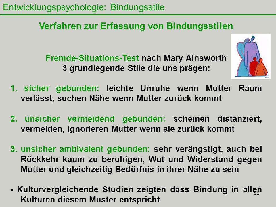 55 Entwicklungspsychologie: Bindungsstile Fremde-Situations-Test nach Mary Ainsworth 3 grundlegende Stile die uns prägen: 1.