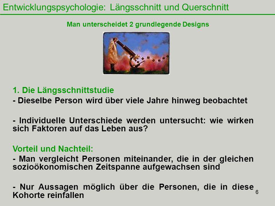 6 Entwicklungspsychologie: Längsschnitt und Querschnitt 1.