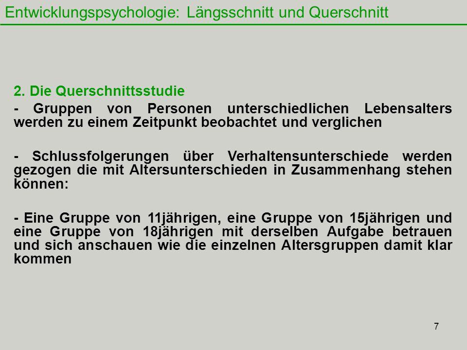 7 Entwicklungspsychologie: Längsschnitt und Querschnitt 2.