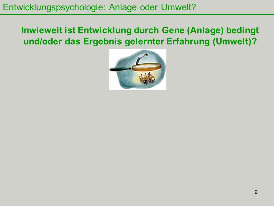 9 Entwicklungspsychologie: Anlage oder Umwelt.