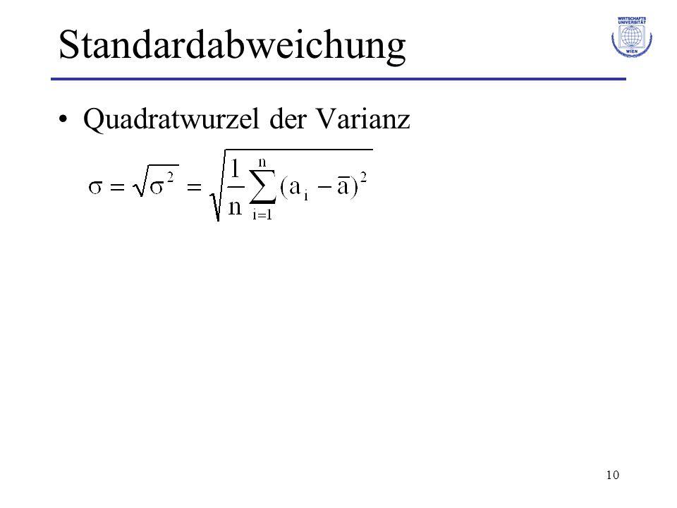 10 Standardabweichung Quadratwurzel der Varianz