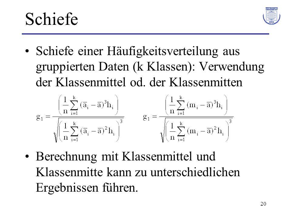20 Schiefe Schiefe einer Häufigkeitsverteilung aus gruppierten Daten (k Klassen): Verwendung der Klassenmittel od. der Klassenmitten Berechnung mit Kl