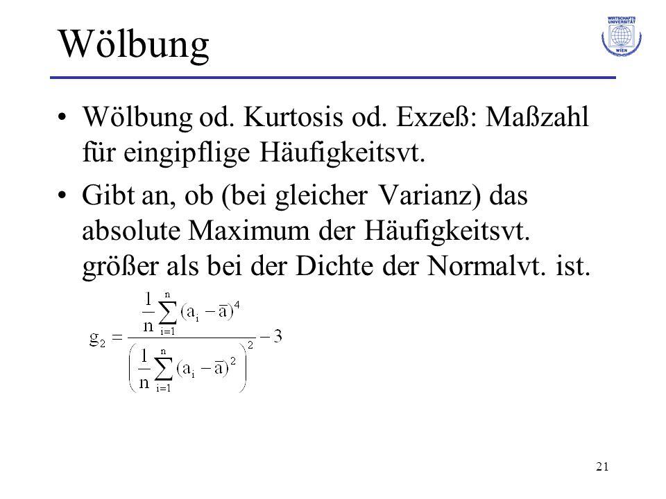 21 Wölbung Wölbung od. Kurtosis od. Exzeß: Maßzahl für eingipflige Häufigkeitsvt. Gibt an, ob (bei gleicher Varianz) das absolute Maximum der Häufigke