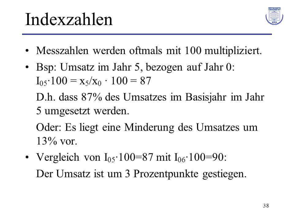 38 Indexzahlen Messzahlen werden oftmals mit 100 multipliziert. Bsp: Umsatz im Jahr 5, bezogen auf Jahr 0: I 05 ·100 = x 5 /x 0 · 100 = 87 D.h. dass 8