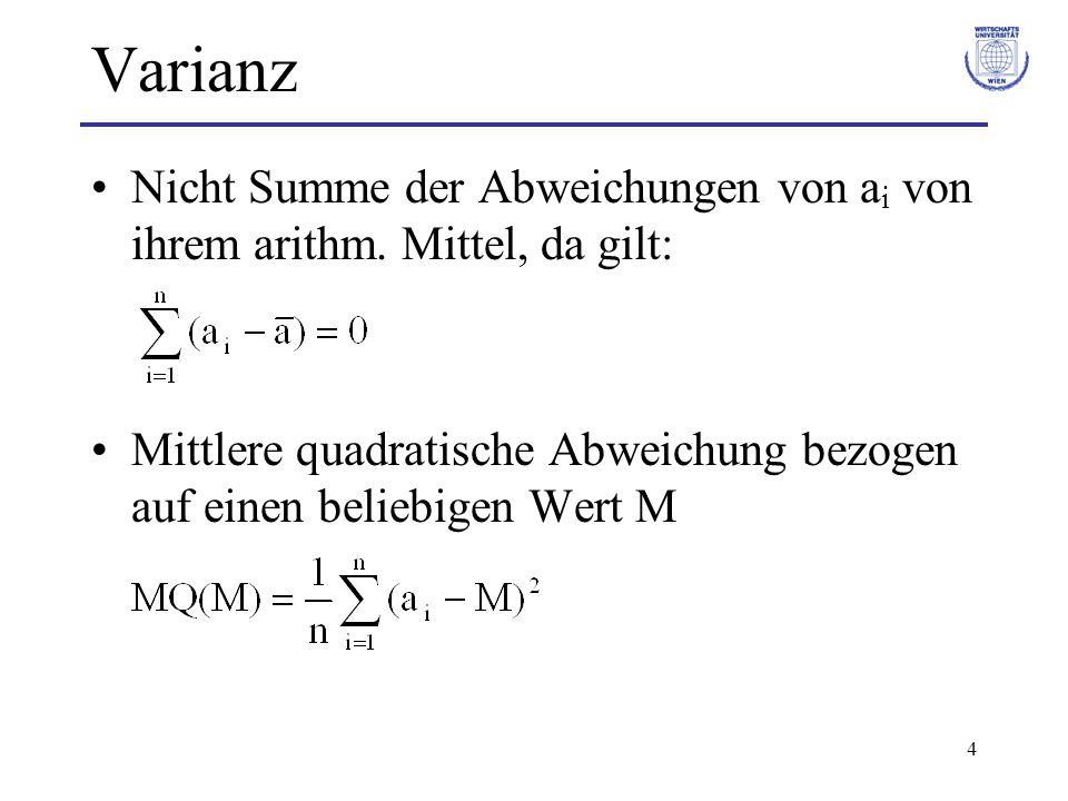 4 Varianz Nicht Summe der Abweichungen von a i von ihrem arithm. Mittel, da gilt: Mittlere quadratische Abweichung bezogen auf einen beliebigen Wert M