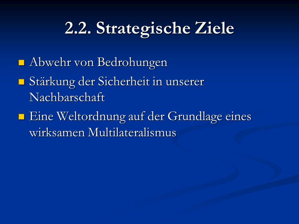 2.2. Strategische Ziele Abwehr von Bedrohungen Abwehr von Bedrohungen Stärkung der Sicherheit in unserer Nachbarschaft Stärkung der Sicherheit in unse