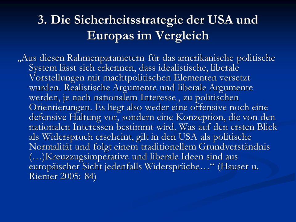 """3. Die Sicherheitsstrategie der USA und Europas im Vergleich """" Aus diesen Rahmenparametern für das amerikanische politische System lässt sich erkennen"""