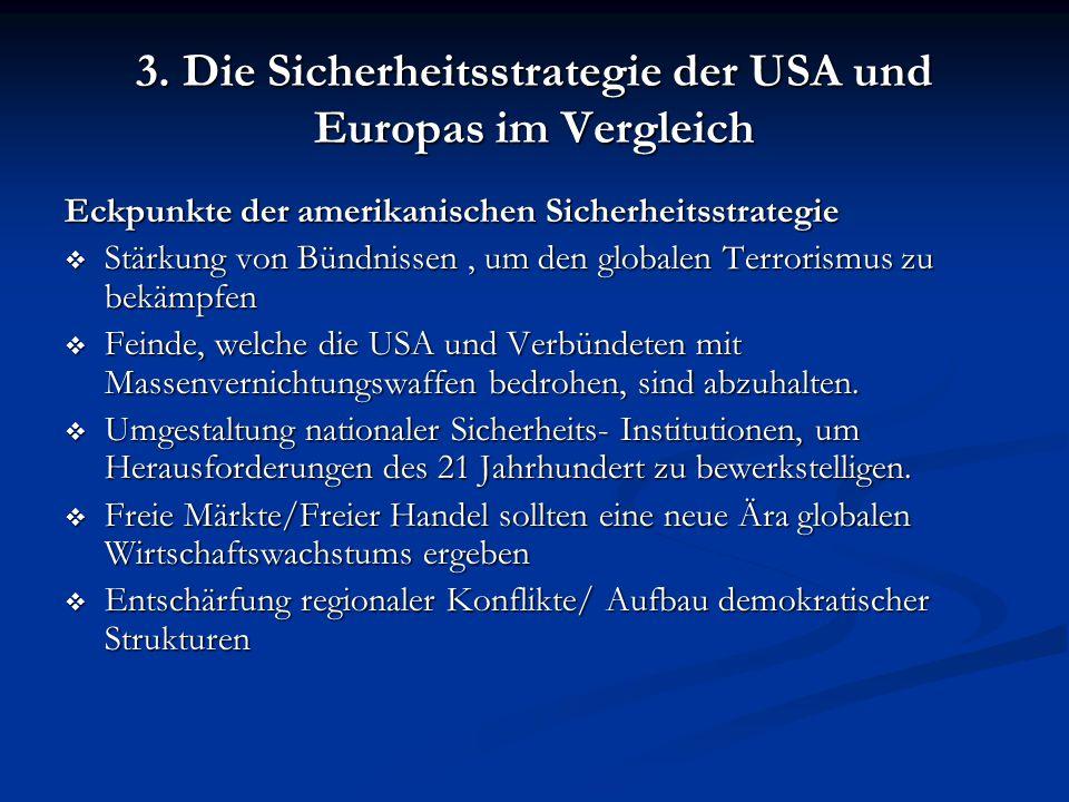 3. Die Sicherheitsstrategie der USA und Europas im Vergleich Eckpunkte der amerikanischen Sicherheitsstrategie  Stärkung von Bündnissen, um den globa